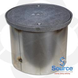 12 Inch With 10 Inch Base Watertight Manhole Cast Iron Cover With 11-1/4 Inch Skirt