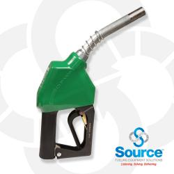 11AP Series Green E10 Unleaded Automatic Nozzle With 3/4 Inch NPT Inlet, 2-Piece Hand Insulator, And Aluminum Spout, Without Hold-Open Rack. UL 2586 Listed.