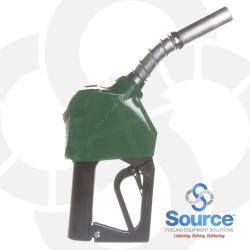 11B Series Green B5 Diesel Pressure-Sensing Automatic Prepay Nozzle With 3/4 Inch NPT Inlet, 2-Piece Hand Insulator, Aluminum Spout, Fillguard Splash Guard, And 2-Position Hold-Open Rack. UL 2586 Listed.