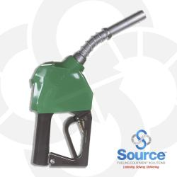 11BP Series Green E10 Unleaded Pressure-Sensing Automatic Prepay Nozzle With 3/4 Inch NPT Inlet, 2-Piece Hand Insulator, Aluminum Spout, And 2-Position Hold-Open Rack. UL 2586 Listed.