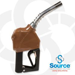 11BP Series Gold E10 Unleaded Pressure-Sensing Automatic Prepay Nozzle With 3/4 Inch NPT Inlet, 2-Piece Hand Insulator, Aluminum Spout, And 2-Position Hold-Open Rack. UL 2586 Listed.