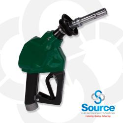 12VW Series Green E10 Unleaded Vac-Assist Vapor Recovery Nozzle For Gilbarco VaporVac And Wayne WayneVac, With M34 Inlet, Aluminum Spout With Stainless Tip, 2-Piece Hand Insulator, Vapor Escape Guard, And Hold-Open Rack. UL/ULC And CARB Certified.