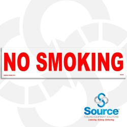 12 Inch x 3 Inch Decal With Red Text On White Background  No Smoking