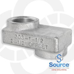1-1/2 Inch Female NPT x 2-1/2 Inch Shorty Offset Adapter