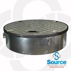 39-1/2 Inch Fiberglass Composite Plain Grey Cover Manhole With Recessed Handle 10 Inch Skirt