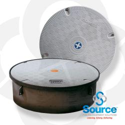 44-1/4 Inch Fiberglass Composite Plain Grey Cover Manhole With Recessed Handle 10 Inch Skirt