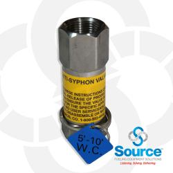 3/4 Inch NPT Stainless Steel Inline Anti-Siphon Valve With Thermal Expansion Relief, 5-10 Foot W.C.