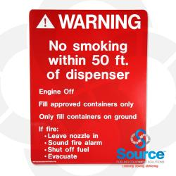 16 Inch x 12 Inch Sign, White on Red - Warning No Smoking Within 50 Ft. Of Dispenser