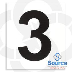 4 Inch x 3-1/2 Inch Pump Number Decal, Black On White - 3