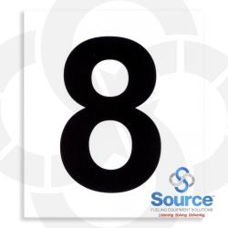 4 Inch x 3-1/2 Inch Pump Number Decal, Black On White - 8