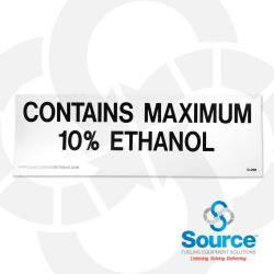 2 Inch X 6 Inch Decal Black On White - Contains Maximum 10% Ethanol