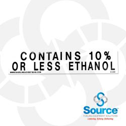 1-1/2 Inch X 6 Inch Decal Black On White - Contains 10% Or Less Ethanol