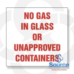6 Inch X 6 Inch Decal - Single Faced - Fire Red On White - No Gas In Glass Or Unapproved Containers