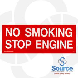 4 Inch X 10 Inch Decal White On Red - No Smoking