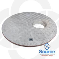 40 Inch Diameter Gray Flat Sealed Composition Cover With Single Entry Port At 8 Inch Off Center