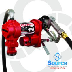115 Volt AC 15 GPM Rotary Vane Fuel Transfer Pump With 3/4 Inch x 12 Foot Hose, 3/4 Inch Manual Nozzle, And Telescoping Suction Pipe