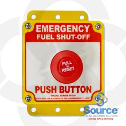 """Surface-Mount Mushroom Push-Button """"Emergency Fuel Shut Off"""" E-Stop Station, 1-3 Contacts, Pull-To-Reset, Non-Metallic Backbox UL Listed"""