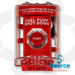 Emergency Stop Operator Twist To Release With Lift-Up Clear Cover & Alarm (Outdoor Rated - Red)