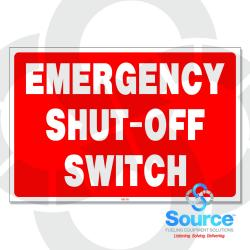 12 Inch X 8 Inch Aluminum Sign Emergency Shut-Off Switch