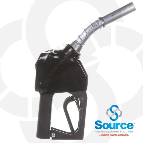 11BP Series Black E10 Unleaded Pressure-Sensing Automatic Prepay Nozzle With 3/4 Inch NPT Inlet, Aluminum Spout, And 2-Position Hold-Open Rack.